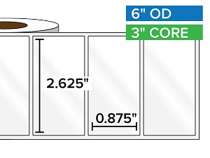 Rectangular Labels, High Gloss White Paper | 2.625 x 0.875 inches | 3 in. core, 6 in. outside diameter