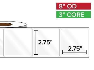 Rectangular Labels, High Gloss White Paper | 2.75 x 2.75 inches | 3 in. core, 8 in. outside diameter