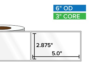 Rectangular Labels, High Gloss White Paper | 2.875 x 5 inches | 3 in. core, 6 in. outside diameter
