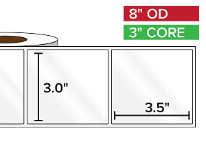 Rectangular Labels, High Gloss White Paper | 3 x 3.5 inches | 3 in. core, 8 in. outside diameter