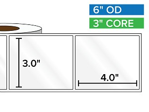 Rectangular Labels, High Gloss White Paper | 3 x 4 inches | 3 in. core, 6 in. outside diameter