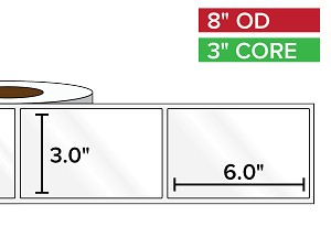 Rectangular Labels, High Gloss White Paper | 3 x 6 inches | 3 in. core, 8 in. outside diameter