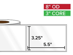 Rectangular Labels, High Gloss White Paper | 3.25 x 5.5 inches | 3 in. core, 8 in. outside diameter