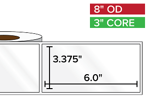 Rectangular Labels, High Gloss White Paper | 3.375 x 6 inches | 3 in. core, 8 in. outside diameter