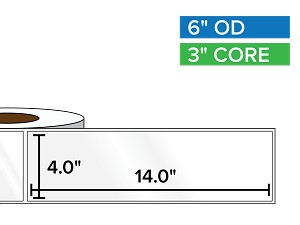 Rectangular Labels, High Gloss White Paper | 4 x 14 inches | 3 in. core, 6 in. outside diameter