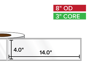 Rectangular Labels, High Gloss White Paper | 4 x 14 inches | 3 in. core, 8 in. outside diameter
