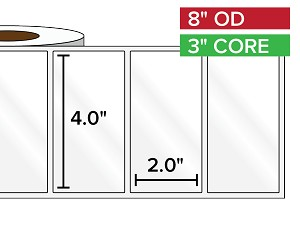 Rectangular Labels, High Gloss White Paper | 4 x 2 inches | 3 in. core, 8 in. outside diameter