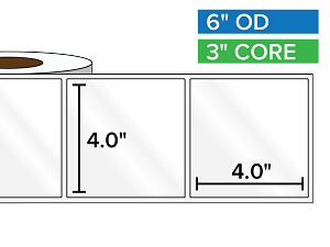 Rectangular Labels, High Gloss White Paper | 4 x 4 inches | 3 in. core, 6 in. outside diameter
