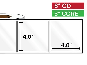 Rectangular Labels, High Gloss White Paper | 4 x 4 inches | 3 in. core, 8 in. outside diameter