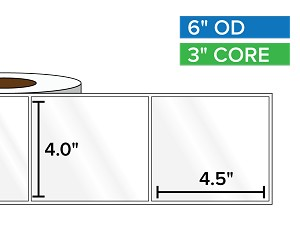 Rectangular Labels, High Gloss White Paper | 4 x 4.5 inches | 3 in. core, 6 in. outside diameter