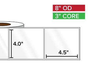 Rectangular Labels, High Gloss White Paper | 4 x 4.5 inches | 3 in. core, 8 in. outside diameter