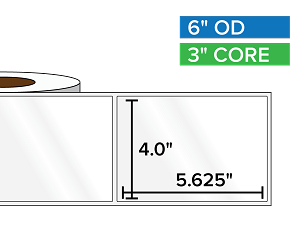 Rectangular Labels, High Gloss White Paper | 4 x 5.625 inches | 3 in. core, 6 in. outside diameter
