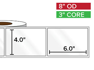 Rectangular Labels, High Gloss White Paper | 4 x 6 inches | 3 in. core, 8 in. outside diameter