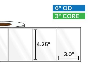 Rectangular Labels, High Gloss White Paper | 4.25 x 3 inches | 3 in. core, 6 in. outside diameter
