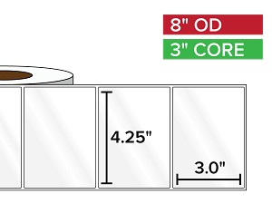 Rectangular Labels, High Gloss White Paper | 4.25 x 3 inches | 3 in. core, 8 in. outside diameter
