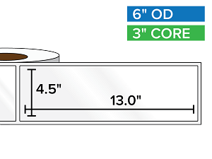 Rectangular Labels, High Gloss White Paper | 4.5 x 13 inches | 3 in. core, 6 in. outside diameter