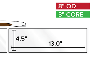 Rectangular Labels, High Gloss White Paper | 4.5 x 13 inches | 3 in. core, 8 in. outside diameter