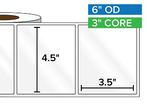 Rectangular Labels, High Gloss White Paper | 4.5 x 3.5 inches | 3 in. core, 6 in. outside diameter