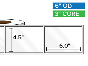 Rectangular Labels, High Gloss White Paper | 4.5 x 6 inches | 3 in. core, 6 in. outside diameter