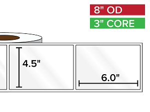 Rectangular Labels, High Gloss White Paper | 4.5 x 6 inches | 3 in. core, 8 in. outside diameter