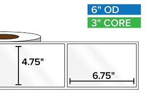 Rectangular Labels, High Gloss White Paper | 4.75 x 6.75 inches | 3 in. core, 6 in. outside diameter