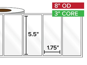 Rectangular Labels, High Gloss White Paper | 5.5 x 1.75 inches | 3 in. core, 8 in. outside diameter