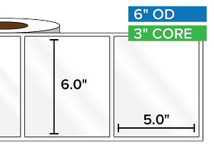 Rectangular Labels, High Gloss White Paper | 6 x 5 inches | 3 in. core, 6 in. outside diameter
