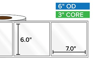 Rectangular Labels, High Gloss White Paper | 6 x 7 inches | 3 in. core, 6 in. outside diameter