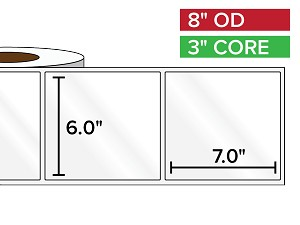 Rectangular Labels, High Gloss White Paper | 6 x 7 inches | 3 in. core, 8 in. outside diameter