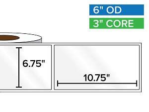 Rectangular Labels, High Gloss White Paper | 6.75 x 10.75 inches | 3 in. core, 6 in. outside diameter