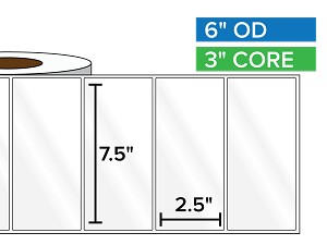 Rectangular Labels, High Gloss White Paper | 7.5 x 2.5 inches | 3 in. core, 6 in. outside diameter