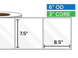 Rectangular Labels, High Gloss White Paper | 7.5 x 8.5 inches | 3 in. core, 6 in. outside diameter