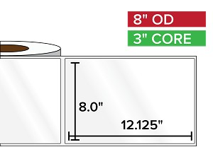 Rectangular Labels, High Gloss White Paper | 8 x 12.125 inches | 3 in. core, 8 in. outside diameter