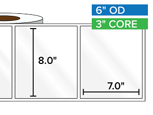 Rectangular Labels, High Gloss White Paper | 8 x 7 inches | 3 in. core, 6 in. outside diameter