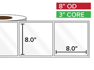 Rectangular Labels, High Gloss White Paper | 8 x 8 inches | 3 in. core, 8 in. outside diameter