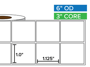 Rectangular Labels, Matte BOPP (poly) | 1 x 1.125 inches, 2-UP | 3 in. core, 6 in. outside diameter