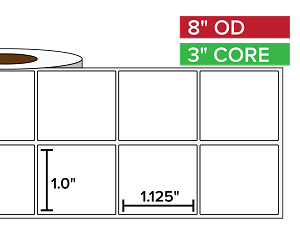 Rectangular Labels, Matte BOPP (poly) | 1 x 1.125 inches, 2-UP | 3 in. core, 8 in. outside diameter