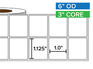 Rectangular Labels, Matte BOPP (poly) | 1.125 x 1 inches, 2-UP | 3 in. core, 6 in. outside diameter