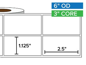 Rectangular Labels, Matte BOPP (poly) | 1.125 x 2.5 inches, 2-UP | 3 in. core, 6 in. outside diameter