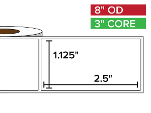 Rectangular Labels, Matte BOPP (poly) | 1.125 x 2.5 inches | 3 in. core, 8 in. outside diameter