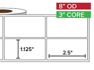 Rectangular Labels, Matte BOPP (poly) | 1.125 x 2.5 inches, 2-UP | 3 in. core, 8 in. outside diameter