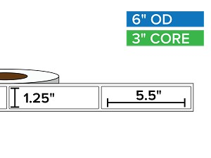 Rectangular Labels, Matte BOPP (poly) | 1.25 x 5.5 inches | 3 in. core, 6 in. outside diameter