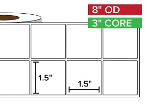 Rectangular Labels, Matte BOPP (poly) | 1.5 x 1.5 inches, 2-UP | 3 in. core, 8 in. outside diameter