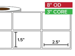 Rectangular Labels, Matte BOPP (poly) | 1.5 x 2.5 inches, 2-UP | 3 in. core, 8 in. outside diameter