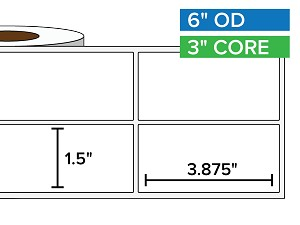 Rectangular Labels, Matte BOPP (poly) | 1.5 x 3.875 inches, 2-UP | 3 in. core, 6 in. outside diameter