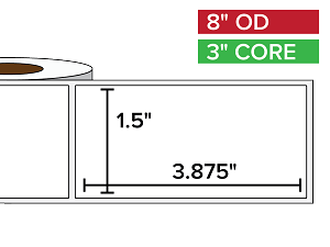 Rectangular Labels, Matte BOPP (poly) | 1.5 x 3.875 inches | 3 in. core, 8 in. outside diameter