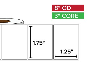 Rectangular Labels, Matte BOPP (poly) | 1.75 x 1.25 inches | 3 in. core, 8 in. outside diameter