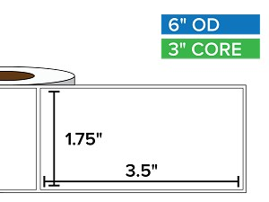 Rectangular Labels, Matte BOPP (poly) | 1.75 x 3.5 inches | 3 in. core, 6 in. outside diameter