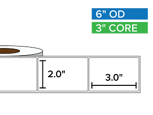 Rectangular Labels, Matte BOPP (poly) | 2 x 3 inches | 3 in. core, 6 in. outside diameter