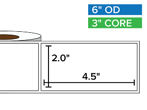 Rectangular Labels, Matte BOPP (poly) | 2 x 4.5 inches | 3 in. core, 6 in. outside diameter